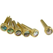 D'ANDREA BRASS W/ABALONE INLAY ACOUSTIC GUITAR BRIDGE TONE PINS (SET OF 6) TP2A