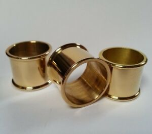 3 mixed BEADED BRASS COLLARS 26mm, 27mm & 30mm diameter for Walking Stick Making