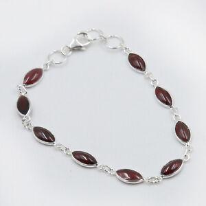 Armband Granat Silber 925 Rot 9 Cabochon Edelsteine Handschmuck