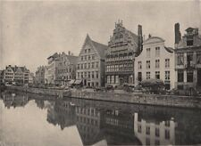 GHENT. On the bank of the Scheldt. Belgium 1895 old antique print picture