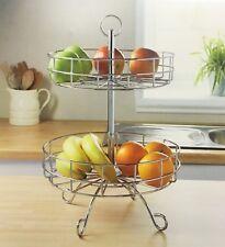 Chrome 2 Tier Fruit/Vegetable Basket Display Stand Holder Worktop Stand-328782