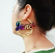 Personalized Custom Name Rainbow Color Bamboo Earring Necklace Bracelet Jewelry