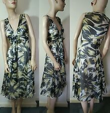 Phase Eight Black Green White Silk Dress Evening Cruise Party Floral Size 12