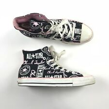 9761ddfc066 Converse All Star Chuck Taylor High Top Sneakers Shoes Mens 9 Womens 11  Spellout