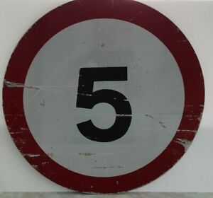 Genuine Real Circular Metal Reflective UK 5 MPH Road Sign 60cm - See Pictures