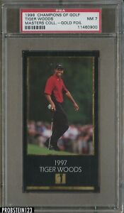 1998 Champions Of Golf Masters Collection Gold Foil Tiger Woods RC Rookie PSA 7