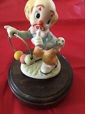 "Vintage Clown Music Box On Wood Base 6"""