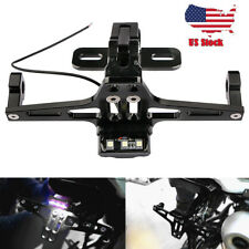 CNC Mount Black Motorcycle License Plate Holder Tail Light Bracket Universal