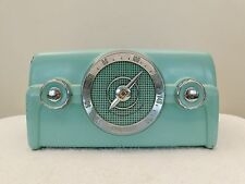VINTAGE 1950s TURQUOISE CROSLEY ANTIQUE CHROME TRIM DASHBOARD MOTIF TYPE RADIO