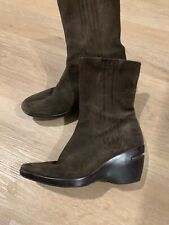 Cole Haan Women's Brown Suede leather platform wedge midcalf Boots Dressy Winter