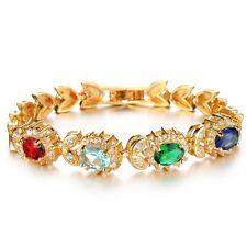 GORGEOUS 18K GOLD PLATED & GENUINE MULTI-COLOURED CUBIC ZIRCONIA TENNIS BRACELET