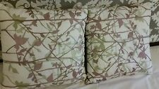 "Pair Florabella Silhouette Forest 18"" Square Embroidered Pillow Cushions NWT$200"