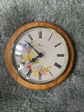 Vintage Wooden Wall Clock Hanson Floral with Roman Numerals