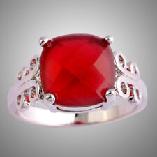 12*12mm Princess Cut Square Ruby Gemstone Silver Ring Size 10 Wedding Band Gifts