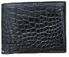 Black Genuine Alligator Crocodile Skin Men's Bifold Leather RFID Wallet