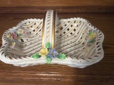 Large Porcelain Basket Weave Dish W/Handle, Made In Spain, Free Shipping