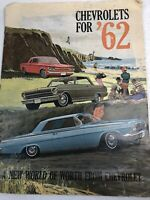 "Chevrolets for '62 Dealer Sales Brochure Large Format 13-3/4x10-3/8"" 16 Pages"