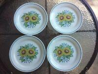 "Vtg Corelle Sunsations Sunflower 9"" Salad Luncheon Plate Set Of 4 Kitchen Dish"