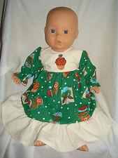 """Verde Navidad Vestido con falda de/mangas Magdalena. ajuste muñeca bebé nacido/Annabel 16/18"""""""