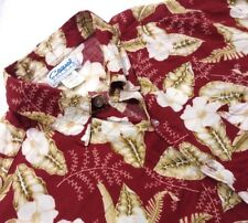 Casual Pointe Men XL Hawaiian Shirt Red Floral Short Sleeve Button Front *1E