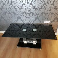 Coffee Table Black Glass Modern Living Room Contemporary Furniture