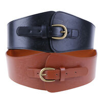Womens Super Wide Faux Leather Waist Belt Stretch Elastic Corset Waistband HU