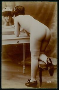 Citrate photo postcard big butt bending girl French nude woman original 1910s