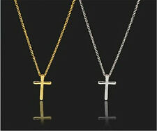 2 Pcs HOT RARE Lady 14 K W/Yellow Gold Plated Cross Celebrity Pendant Necklace