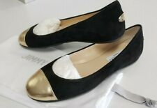 Jimmy Choo Gaze Suede/Metallic Nappa Flat Black / Gold Sz 35 NIB
