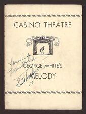 "Jeanne Aubert (Signed) ""GEORGE WHITE'S MELODY"" Everett Marshall 1933 Playbill"