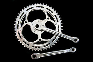 Vintage Durax 5-pin steel cottered crankset, 52/45T, 50.4BCD, French, 170mm