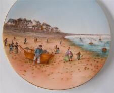"Antique T&V Limoges Porcelain Plate Victorian Beach Scene Hand Colored 8.5"""