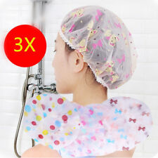 3XNew Reusable Bath Shower Caps Clear Assorted Plastic Head Hair Cover Salon Cap