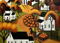 Giclee ACEO folk art print 2 landscape wagon dog pumpkin patch field country