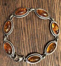 Baltic Amber 925 Sterling Silver Link Bracelet 7 Links