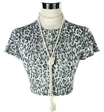 COTTON ON Cardigan - Vintage Cropped Leopard Print Knitted Grey Button - L/10/12