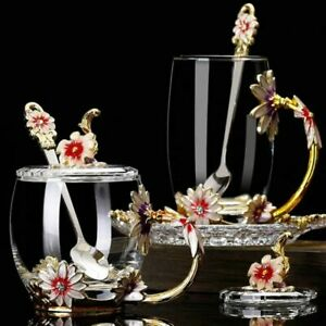 Hand-made Enamel Flower Glass Cup Coffee Mug Scented Tea Milk Lemon Juice Glass