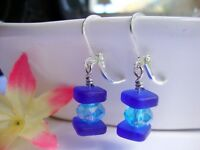Stacked Cobalt Blue Sea Glass Square Blue Crystal Silver Dangle Earrings