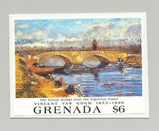 Grenada #1987 Van Gogh Art, Bridges 1v S/S Imperf Proof on Card
