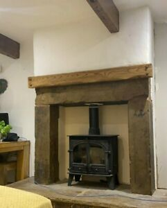 Wooden Mantel Fire place Beam Floating Shelf Mantle Mantelpiece Mantlepiece