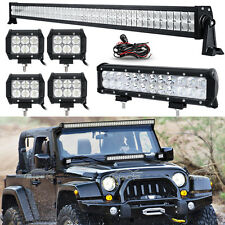"52INCH 700W LED Light Bar Combo+12"" 72W+4"" 18W Fit Jeep Wrangler JK YJ TJ CJ LJ"