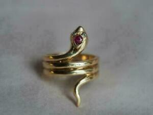 14k Yellow Gold Over Red Ruby & Diamond Women's Cocktail Vintage Snake-Coil Ring