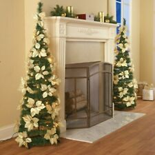 4 Foot Tall Lighted White Poinsettia Pull Up Christmas Tree