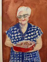 Original Watercolor Painting Of Grandma Baking A Casserole Folk Art