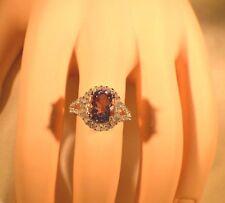 Glamoroso 2.85ct. Amatista Natural & Original 1/2 Ct. Diamante Anillo de Cóctel
