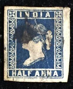 INDIA 1854 QV ½ anna used wide margins indigo? creased line SG#7? Die II I3329