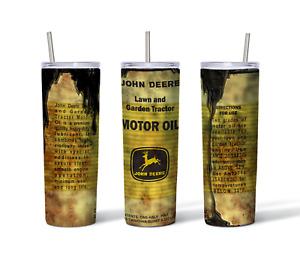 Custom 20oz Tumbler John Deere With Straw FREE SHIPPING!