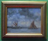 Sailing Barges Orwell  Original Framed Impressionist Oil Painting David Baxter