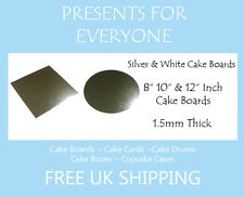 """8"""" 10"""" 12"""" Inch Round or Square Silver Or White Covered Cake Board"""
