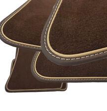 Fußmatten für Jaguar XJ X351 Velours Elegant dunkelbraun Echtleder  braun-beige